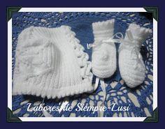 Labores de siempre: Gorrito bebé + Patucos en Punto rayado