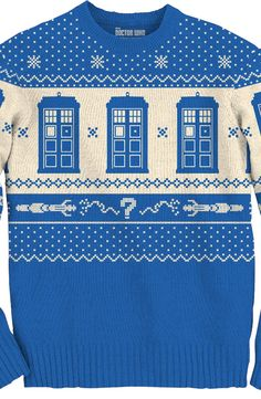 Tardis Christmas Sweater: Doctor Who Mens Sweaters