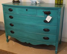 Vintage four-drawer dresser painted in General Finishes Patina Green Milk Paint, glazed with GF Pitch Black Glaze Effects, and sealed with GF High Performance Top Coat. A great piece to add a fun pop of color to your home!