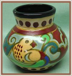 Vintage Handpainted Pottery Vase Gouda Style Hongon