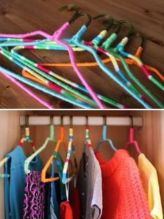 Upcycle your old wire hangers into colorful non-slip hangers with bright yarn or embroidery floss. | 53 Seriously Life-Changing Clothing Organization Tips