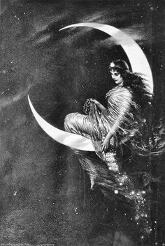"""As the moon reaches her fullest, most creative phase, so do you. As she disappears into the deepest depths of her darkness, so do you. As she prepares to reach for new beginnings in her crescent phase, so do you. Her essence is always with thee, for you carry her beauty, her light, her darkness and her power within your womb."" ~Roslyne Sophia Breillat (picture: Die Mondfee by Kaulbachs)"