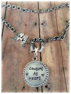 Hand Stamped Country Western Choker Necklace Boot by SpeckledOwls, $28.00