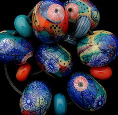 DSG Beads Handmade Organic Lampwork Glass Summer Wave | eBay