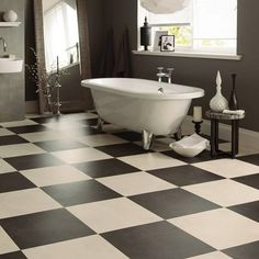 The Opus collection from Karndean is a luxury vinyl tile that is fresh and contemporary for a modern look and looks. Luxury Vinyl Flooring, Luxury Vinyl Tile, Waterproof Bathroom Flooring, Karndean Design Flooring, Checkerboard Floor, White Bathroom Tiles, Beautiful Bathrooms, Bathroom Inspiration, Home