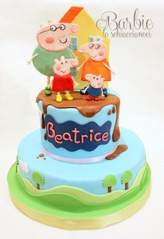 Peppa Pig Cake - Cake by Barbie lo schiaccianoci (Barbara Regini) Tortas Peppa Pig, Bolo Da Peppa Pig, Twin Birthday Cakes, Peppa Pig Birthday Cake, 2nd Birthday, Peppa Pig Y George, Baby Mickey Mouse Cake, Cake Pops, Aniversario Peppa Pig