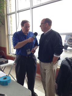 Our Sales Consultant Brian Burghorn talking with Mike Ruble of WVLI The Valley about the importance of the United Way in Kankakee County and the involvement of Taylor Chrysler Dodge in the Wheels and More Raffle.