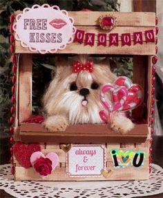 Yorkie Dog Kissing Booth Valentine   furred  OOAK  * CTD*