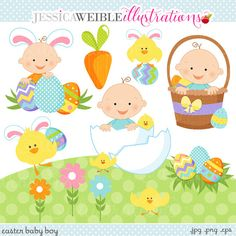 Easter Baby Boys Cute Digital Clipart  by JWIllustrations on Etsy, $5.00