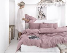 Set Linen Bedding - 3 pieces -One duvet cover + 2 pillow shams- 18 colors-Stone washed linen Natural pieces waves#