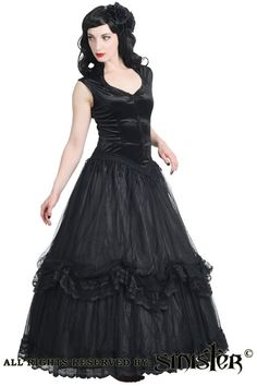 Long Black Velvet and Net Vampire Dress