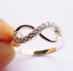 Engravable Sterling Silver Infinity Ring Handmade. Made With Sterling Silver, Zircon Stones