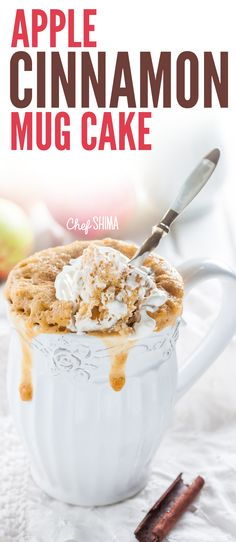 If you're looking for a creative breakfast idea, then this Apple Cinnamon Mug Cake is a MUST-TRY! It may be small, but boy is it ever satisfying. Cinnamon Mug Cake, Apple Cinnamon, Mugs, Breakfast, Creative, Desserts, Recipes, Food, Morning Coffee