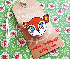 Little Bambi Woodland Fawn Shrink Plastic Brooch - Made To Order