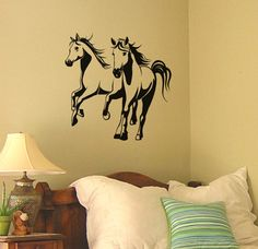 Horse wall decal Mustang sticker Western wall by aluckyhorseshoe