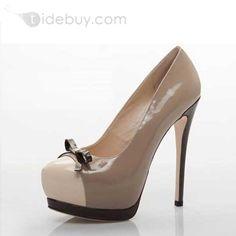 Zapatos de la nueva plataforma de tacón de aguja redonda del dedo del pie de las mujeres