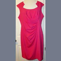 "Pink Sheath Dress Beautiful pink sheath dress. Unique neckline. Gathered side. Back zipper. Lined. Polyester blend. Slight cap sleeves. Length: 38"". Armpit to armpit: 20"". Waist: 36"". Hips: 44"". Dana Buchman Dresses"