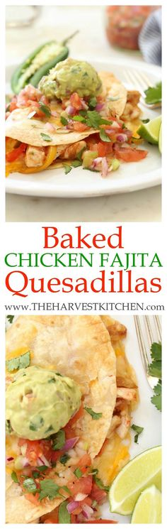 These crispy Baked Chicken Fajita Quesadillas are stuffed with savory Mexican flavors – tender bites of chicken cooked with garlic, jalapeño and tomato, some lightly browned onion, bell peppers and a (Chicken Fajitas Oven) Healthy Mexican Recipes, Great Recipes, Dinner Recipes, Favorite Recipes, Easy Recipes, Amazing Recipes, Diabetic Recipes, Cocktail Recipes, Enchiladas