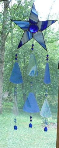 stained glass sun catcher wind chime cobalt blue star