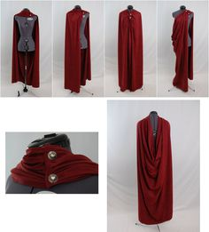 Because everybody needs a red cape in their closet. Medieval Clothing, Medieval Gown, Gypsy Clothing, Fantasy Costumes, Cosplay Outfits, Couture, Larp, Mode Outfits, Costume Design