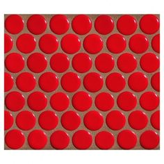 Porcelain Penny Round Mosaic in Kasbah Red Gloss. A Modern Glazed Porcelain Penny Round Mosaic Tile. Penny Round Tiles, Penny Tile, Red Tiles, Mosaic Tiles, Best Outdoor Pizza Oven, Aqua Wallpaper, Fireplace Remodel, Porcelain, Modern