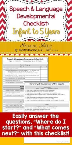 "Provides you with an in-depth, easy-to-use developmental checklist for speech, language, & social skills. Helps you stay organized when determining goals. It contains two parts. 1) Milestones organized by age. Helps you determine what is developmentally appropriate. 2) A hierarchy of development within developmental targets. This makes the question of ""where do I start"" an easy one to answer! This product is a real time-saver. Check it out now!"
