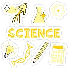 'Light Yellow Science School Subject Sticker Pack' Sticker by The-Goods Red Bubble Stickers, Cool Stickers, Printable Stickers, Planner Stickers, Homemade Stickers, Tumblr Stickers, School Subjects, Bullet Journal Ideas Pages, Aesthetic Stickers