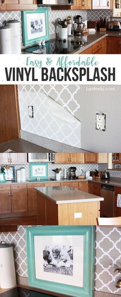 Easy DIY vinyl backsplash TUTORIAL for the kitchen! There's a video on how to apply it too. Easily removed so it's perfect for renters like me.