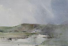 "Chris Robinson; Watercolor 2011 Painting ""Devon coastline"""
