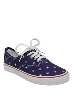 Marvel Captain America Shield Print Lace-Up Canvas Sneakers, MULTI