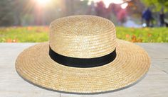 Paper Straw Boater Hat with Contrasting Grosgrain Ribbon