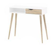Tvilum Delta Desk with Drawer, White Oak Oslo, Wood Writing Desk, Contemporary Desk, Solid Wood Desk, Large Desk, Best Desk, White Desks, Desk With Drawers, Drawer Handles