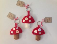 Magical Mushroom Keyring Keychain Felt by AddiesKnittedGifts, £4.00 DIY party favour for fairy themed party