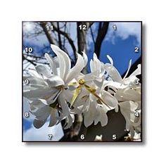 white flowers - Wall Clocks