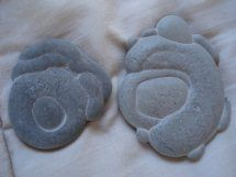 Fairy Stone - location, northern Canada.    These concentric shaped specimens are composed of calcium carbonate and were formed in Quaternary deposits left in lakes by receding glaciers.