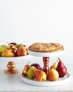 Here's a beautiful — and practical — way of serving fall's bounty of apples, pears, and fresly-baked pie. And when the dishes are stacked in this manner, they free up space on the tabletop.