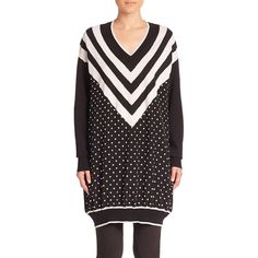 Stella McCartney Polka Dot Stripe Wool & Silk Sweater (53,040 PHP) ❤ liked on Polyvore featuring tops, sweaters, apparel & accessories, black, wool pullover sweater, polka dot sweaters, wool v neck sweater, v-neck pullover sweater and silk sweater