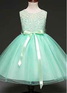 In Stock Alluring Tulle & Satin Jewel Neckline Ankle-length Ball Gown Flower Girl Dresses With Handmade Flowers & Belt & Hot Fix Rhinestones - Adasbridal.com