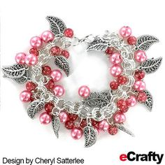 EASY BRACELET TUTORIAL: With just a few supplies from eCrafty.com, Cheryl created a luscious raspberry sparkle bracelet with lacy leaf charms.  #diy #handmade #charms #pearls #pink #chainmaille #diy #crafts #beads #tutorial #diyjewelry #etsy