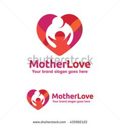 Family Love Logo, Mother and Child with Heart Symbol, Kid Brand Identity