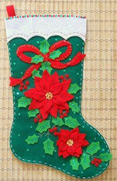 Completed Bucilla Christmas Stocking Elegant by HollyCreations Felt Christmas Stockings, Christmas Stocking Pattern, Christmas Applique, Felt Christmas Ornaments, Christmas Sewing, Christmas Art, Christmas Decorations, Poinsettia, Felt Crafts