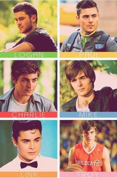 Zac Efron movie roles. Troy Bolton is still the best.
