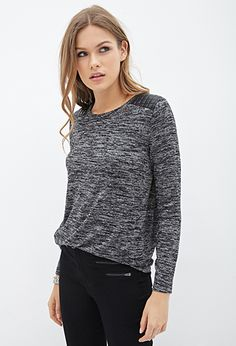 Faux Leather-Paneled Sweater   FOREVER21 - 2055879886