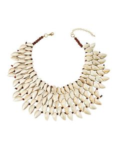 Shop Conch Shell Bib Necklace from Natasha Accessories Limited at Neiman Marcus Last Call, where you'll save as much as on designer fashions. Cowrie Shell Necklace, Lariat Necklace, Stone Necklace, Fallon Jewelry, Shell Necklaces, Conch, Cultured Pearls, Neiman Marcus, Shells