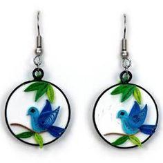 "QUILLING CARD ""BLUEBIRD"" EARRINGS"