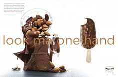 """Haagen-dazs Ice-cream: """"LOOK MA, ONE HAND"""" Print Ad  by Goodby Silverstein & Partners"""