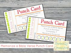 Printable Punch Card Memorize a Bible Verse by SweetlyCreative - We could customize and make our own. Printable Reward Charts, Reward Chart Kids, Chore Charts, Free Printables, Bible School Crafts, Sunday School Crafts, Memory Verse Games, Memory Verses For Kids, Bible Activities