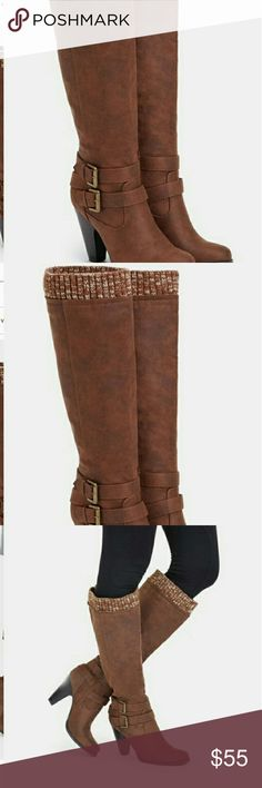 "NWT JUST FAB Brown Wide Calf Boots Beautiful JUST FAB brown boots, Polished faux suede. Chunky cone heel for comfort, all day wear and a sweater cuff detail for a cozy touch. Heel height: 3.5"" Calf: 16.5 JustFab Shoes Heeled Boots"