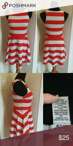 Fit and Flare Striped Sundress Brightly colored stretchy and fun A-line skater dress. Super comfortable and easy to wear. Purchased at Macy's. Feel free to make an offer! Macy's Dresses