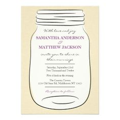 Mason Jar Wedding Invitation - Purple